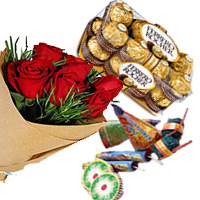 Best Diwali Gifts to Mumbai additionally Send 16 Pcs Ferrero Rocher and 12 Red Roses Bunch with Assorted Crackers worth Rs 500