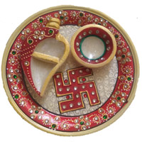 Send Corporate Gifts to Mumbai made up of Pooj Thali in Marble