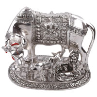 Same Day Diwali Gifts in Mumbai consisting Laddu Gopal with Cow in White Aluminum