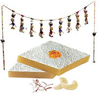 Diwali Gifts in Mumbai available to decorate your home incuding Door Hanging Bandhanwar with 500gm Kaju Katli