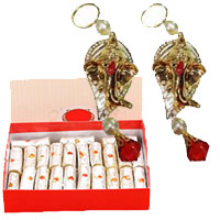 Send Diwali Gifts to Andheri for decorating purose, Buy Pair of Two Hanging Ganesha with 500 gm Kaju Roll