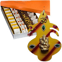 Deliver decorating items like Hanging Mangal Kalash in Wooden with 500gm Assorted Kaju Sweets in Mumbai. Gifts to Akola