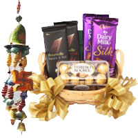 Diwali Gifts to Mumbai deliver Door Hanging 2 with Silk, Bournville and Ferrero Rocher Chocolate Basket