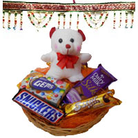 Diwali GIfts to Amravati along with 6 Inches Teddy, Chocolate Basket and 2 Door Hanging Bandhanwar