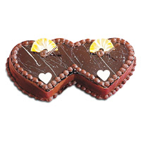 Online Cake Shop in Mumbai to send 2 Kg Double Heart Shape Chocolate Cake