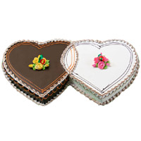 Shop for 3 Kg Double Heart Chocolate Vanilla 2-in-1 Cake to Mumbai