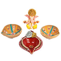 Send Diwali Gifts to Mumbai add up to Ganesh in Marvel with 3 Big Handcrafted Diya to Thane