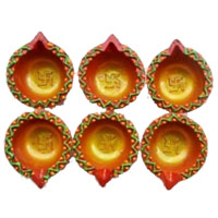 Diwali Gifts in Mumbai that includes 6 Small Handcrafted Diya in Amravati