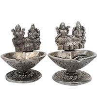 Diwali Gifts Delivery in Mumbai delivers Pair of Two Aluminium Diya with Ganesh Lakshmi