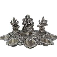 Find Best Diwali Gifts to Amravati which includes Panch Mukhi Diya in Aluminium with Saraswati, Lakshmi and Ganesh