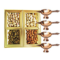 Deliver Diwali Gifts in Mumbai containing diya and 500 gm Mix Dry Fruits with 4 Brass Diya