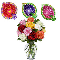 Online Diwali Gifts to Akola along with 3 Handcrafted Diyas with 12 Mix Rose in Vase to Mumbai