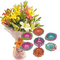 Order Diwali Gifts in Mumbai including 6 Mix Lily Bouquet with 7 Handcrafted Diya in Nashik