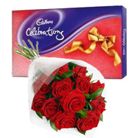 Gift Delivery of Cadbury Celebration Pack with 12 Red Roses Bunch to Mumbai