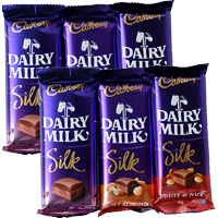 Place Order for Rakhi Gifts Delivery in Mumbai. 6 Cadbury Dairy Milk Silk Chocolate to Send Gift in Mumbai