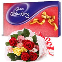 Send 12 Mix Roses Bouquet with Cadbury Celeberation Pack Chocolate to Mumbai, Gifts to Mumbai