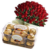 Send 16 Pcs Ferrero Rocher with 50 Red Roses Bunch to Mumbai