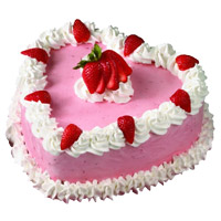 Best Midnight Cake Delivery in Mumbai for 1 Kg Heart Shape Strawberry Cake