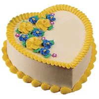 Online Cake Delivery to Raj Bhawan Mumbai to send 1 Kg Heart Shape Butter Scotch Cake