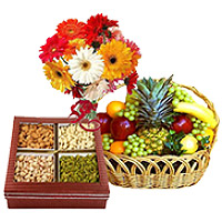 Send Gifts to Mumbai, including Bunch of 12 Mix Gerberas with 3 kg Fresh fruit Basket and 0.5 kg Mixed Dry fruits to Mumbai