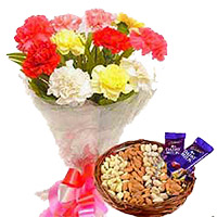 Gifts in Mumbai. Send 12 Mixed Flowers Bouquet with 1/2 Kg Assorted Dry Fruits to Mumbai and 2 Dairy Milk Chocolates