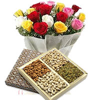 Send Gift of 24 Mixed Roses with 1/2 Kg Assorted Dry Fruits in Mumbai