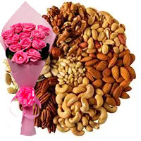Order 12 Pink Roses with 500 gm Mixed Dry Fruits to Mumbai, Gifts Delivery in Mumbai