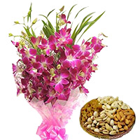 Order 12 Orchid Stem Flower Bouquet with 500 gm Assorted Dry Fruits, Send Gifts to Mumbai