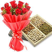 Online Gifts to Mumbai. Send Online 12 Red Roses with 500 gm Mixed Dry Fruits Mumbai