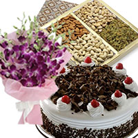 Send 5 Purple Orchids Bunch 1/2 Kg Black Forest Cake with 500 gm Mix Dry Fruits to Mumbai, Gifts Delivery in Mumbai Online
