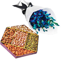 Order Online Blue Orchid Bunch 10 Flowers Stem with 1/2 Kg Mix Dry Fruits to Mumbai, Gifts in Mumbai