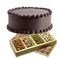 Order 500 gm Mixed Dry Fruits with 500 gm Chocolate Cake to Mumbai, Gifts in Mumbai