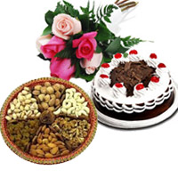 Send 6 Mix Roses 1/2 Kg Black Forest Cake to Mumbai with 500 gm Mix Dry Fruits, Gifts to Mumbai