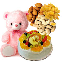 Send 12 Inch Teddy 1 Kg Eggless Fruit Cake 5 Star Bakery with 500 gm Assorted Dry Fruits