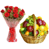 Bhaidooj Gifts to Mumbai to Send 12 Red Roses Flower Bouquet Online Mumbai with 2 Kg Mix Fresh Fruits