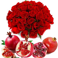 Send 50 Red Roses Bouquet to Mumbai with 1 Kg Fresh Fruit Promegranate, Friendship Day Gifts Online to Mumbai