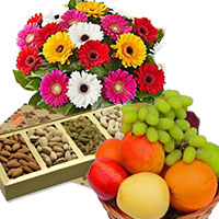Order 12 Mix Gerbera with 500 gm Mix Dry Fruits and 1 Kg Fresh Fruits Basket Mumbai. Gifts in Mumbai