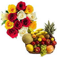 Order 12 Mix Roses Bunch with 2 Kg Fresh Fruits Basket. Send Bhaidooj Gifts to Mumbai Online