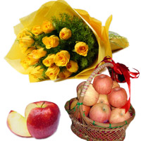 Order for Bhaidooj Gifts to Mumbai take in 2 Kg Apple Basket with 12 Yellow Roses Flower Bouquet to Mumbai