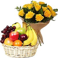 Order 10 Yellow Rose Bunch 2 Kg Fresh Fruit Basket Delivery Colaba Mumbai on Father's Day