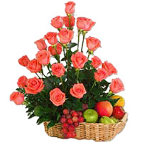 Deliver Bhaidooj Gifts in Mumbai be made up of 36 Pink Roses and 2 Kg Fruit Basket