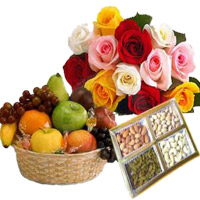 Deliver Online 12 Mix Roses Bunch with 1 Kg Fresh Fruits Basket and 500 gm Mix Dry Fruits. Bhaidooj Gifts to Mumbai