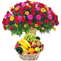Order Good Gifts for Friends 50 Mix Roses Basket with 2 Kg Fresh Fruits Basket to Mumbai
