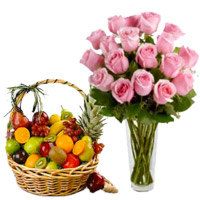 Best Bhaidooj Gifts in Mumbai to Deliver 12 Pink Roses in Vase with 1 Kg Fresh Fruits Mumbai in Basket
