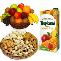Best Bhaidooj Gifts to Mumbai Same Day Delivery Comprising of 1 Kg Fresh Fruits Basket with 500 gm Mix Dry Fruits and 1 ltr Mix Fruit Juice