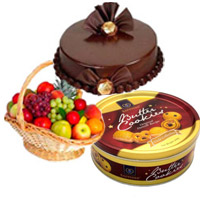 Deliver 1 Kg Fresh Fruits in Basket with Bhaidooj Gifts to Mumbai and you can also send 500 Chocolate Truffle and Butter Cookies to Mumbai