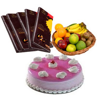 Send Presents for Friends, 5 Cadbury Bournville Chocolates with 1 Kg Fresh Fruits Basket and 500 gm Strawberry Cake