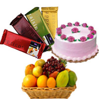Deliver Gifts for Friends, 4 Cadbury Temptation Bars with 500 gm Strawberry Cake and 1 Kg Fresh Fruits Basket