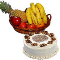 Send Online 1 Kg Fresh Fruits Basket with 500 gm Vanilla Cakes to Mumbai on Bhaidooj