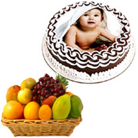 Online Gift Delivery in Mumbai. 1 Kg Chocolate Photo Cake with 2 Kg Fresh Fruits Basket